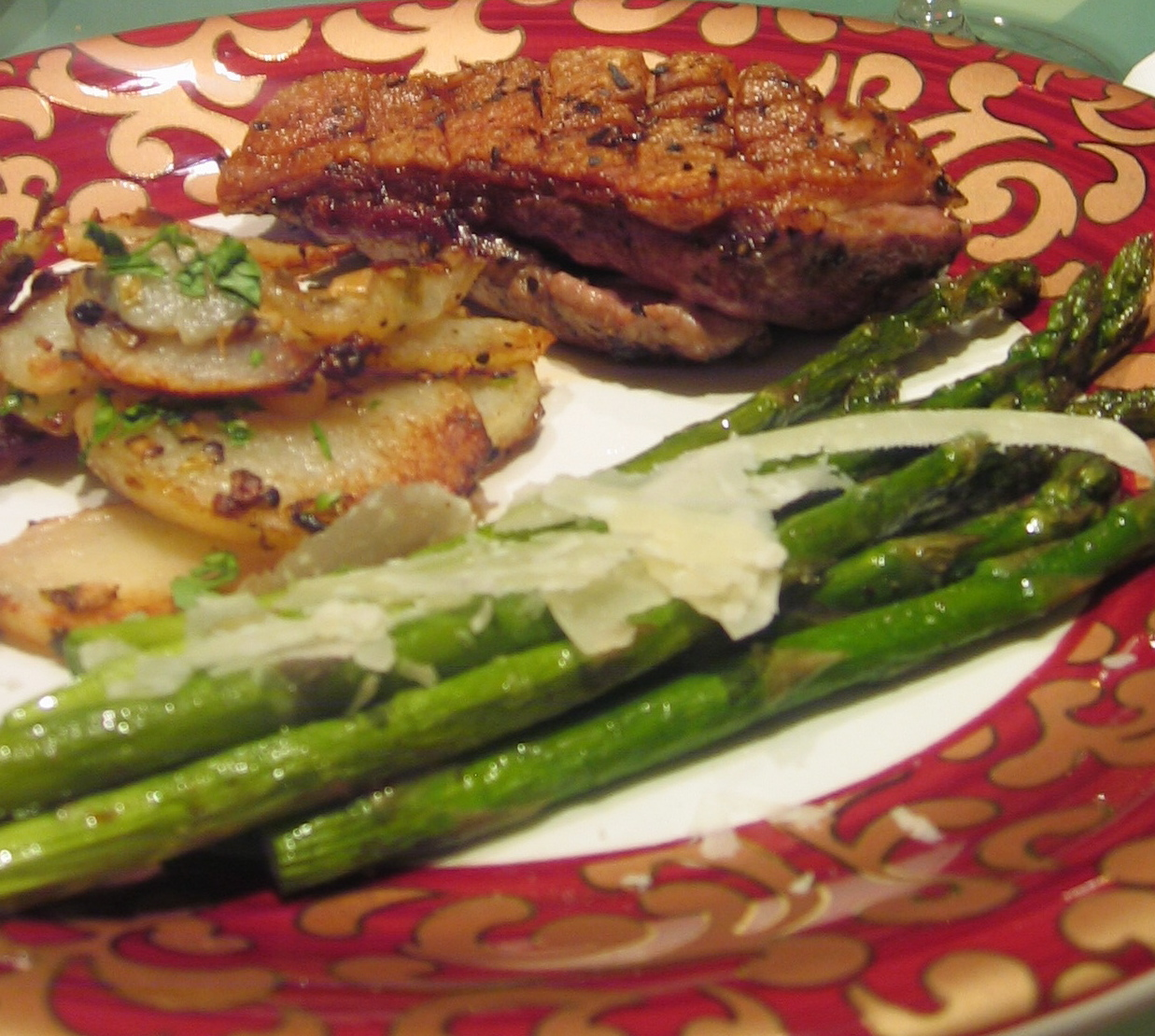Tarragon Seared Duck Breast; Potatoes Sauteed in Duck Fat; Roasted Asparagus w/ Shaved Pecorino & Baby Chocolate Souffle