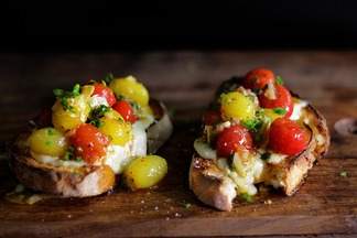 cherry tomato vinaigrette and gorgonzola bruschetta