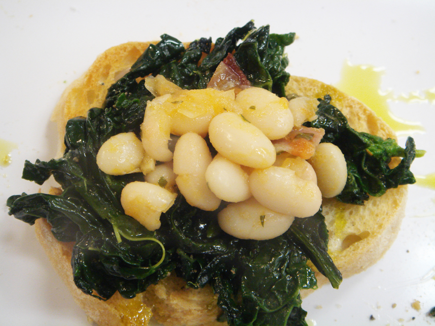 Crostini with Sautéed Brocoli Rabe, Crunchy Bacon and Beans