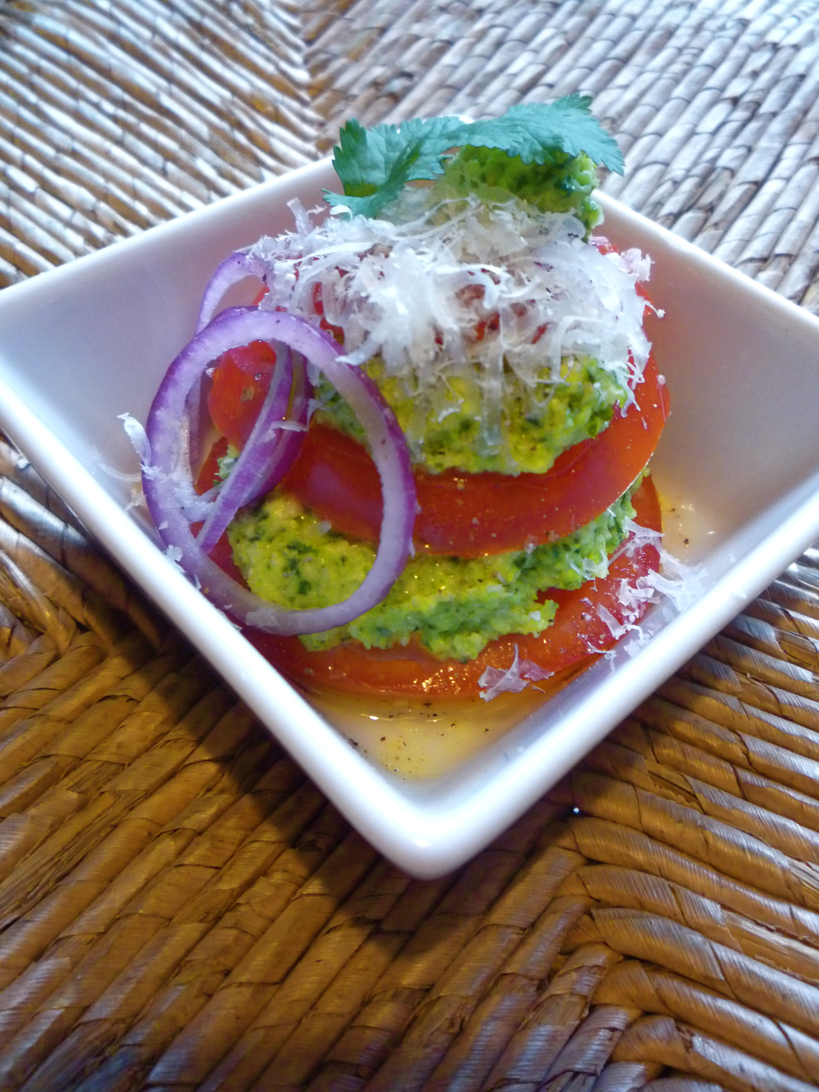 Broccoli Cilantro Pesto with Heirloom Tomatoes and Aged Manchego.