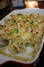 Cheesy Broccoli, Chicken and Rice Gratin with Crisp Almonds