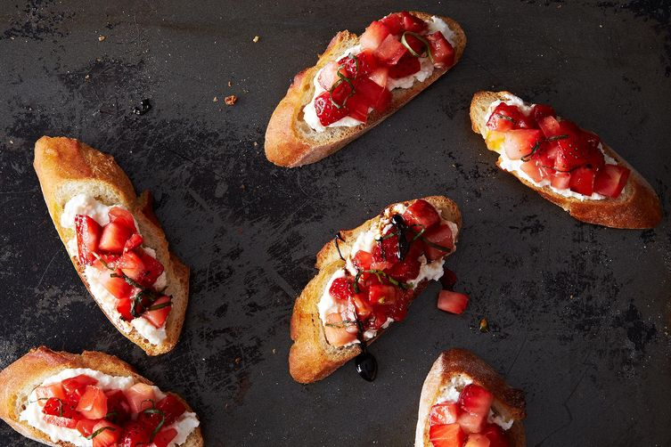 Not-Too-Sweet Tomato and Strawberry Bruschetta on Food52