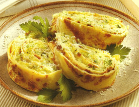 Cheese and Ham Rolly-Polly Lasagna with Brown Sage Butter