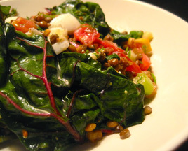 Chopped Lentil Salad with Swiss Chard, Tomato & Egg