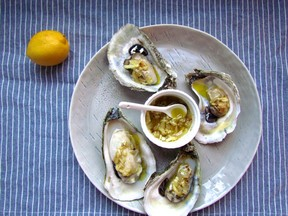 Baked Oysters with Warm Mignonette