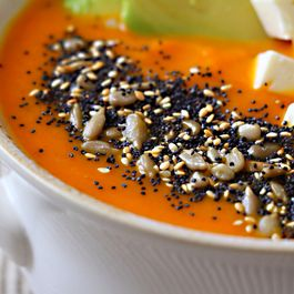 Roasted_carrot_soup_with_avocado_feta_and_seeds