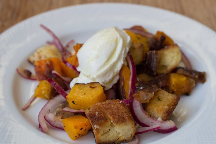 Challah Panzanella with Butternut Squash, Dates, and Hazelnuts