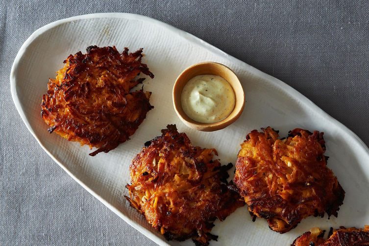 Maple Sweet Potato Cakes with Curried Greek Yogurt Recipe on Food52