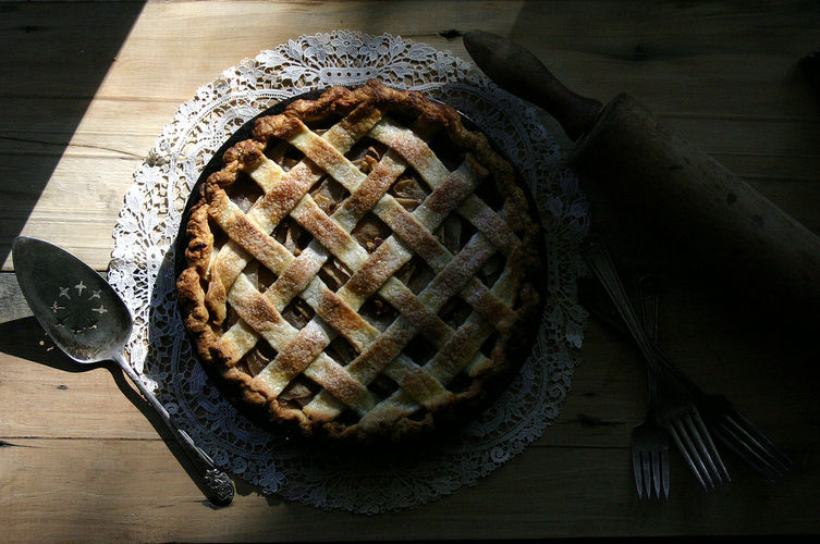 Spiced Pear, Gorgonzola, and Walnut Pie
