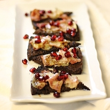 Gruyere Toasts w/ Pomegranate Balsamic Drizzle