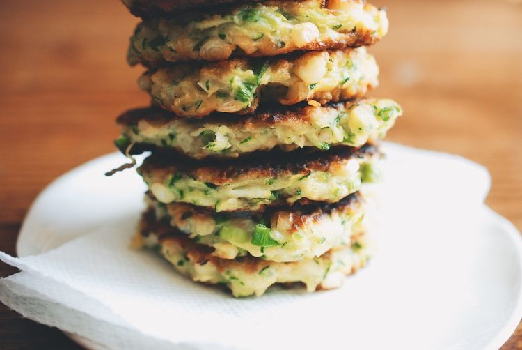 Zucchini-Corn Fritters with Spicy Yogurt Dipping Sauce Recipe on ...
