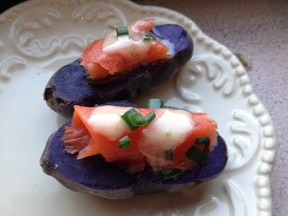 Purple Potato-creme fraiche salmon bites