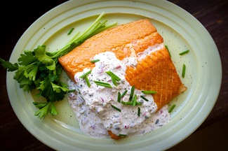 Smoked Salmon with Horseradish Caper Sauce