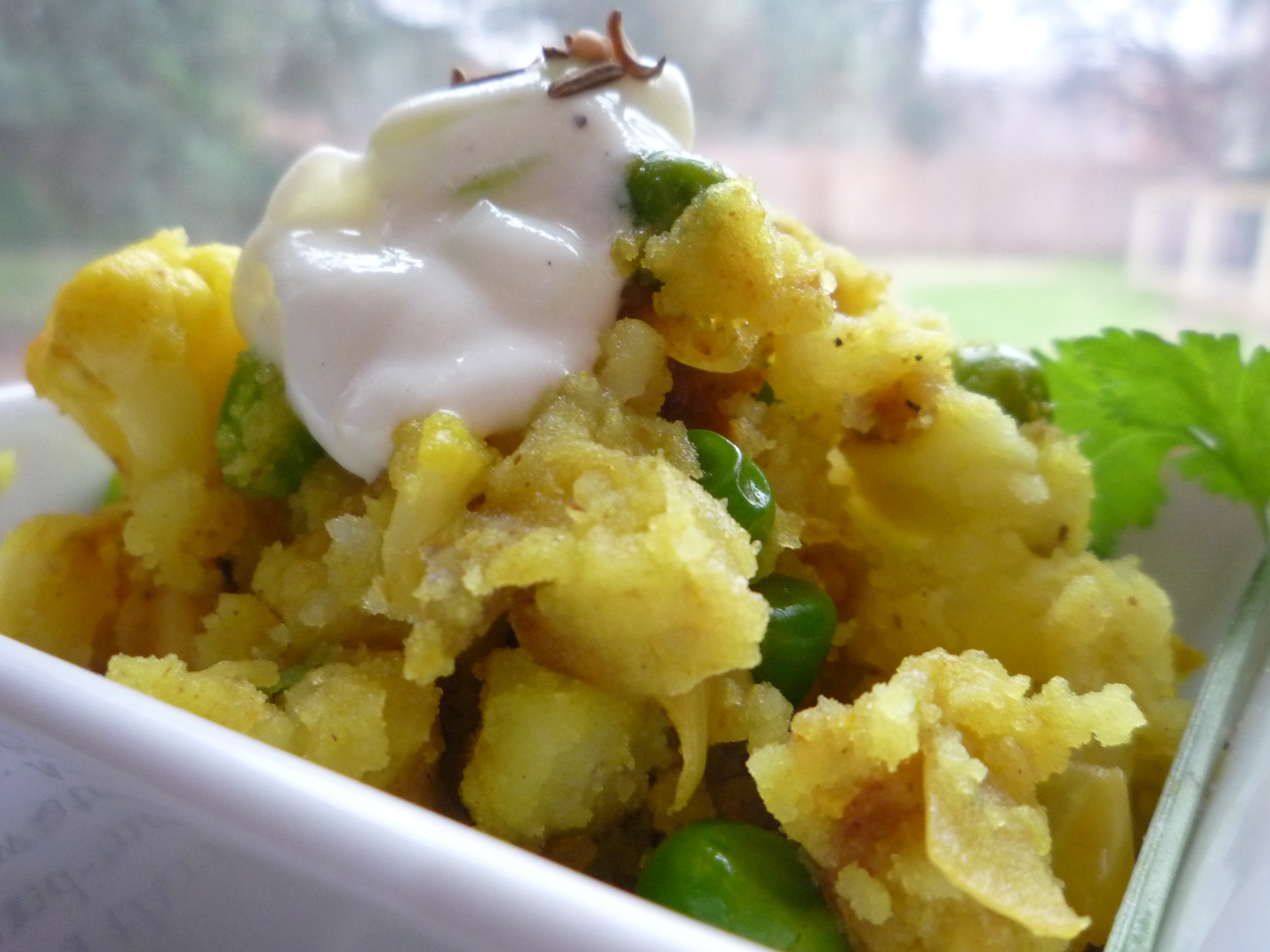 Smashed Indian Potatoes with Lazy Raita