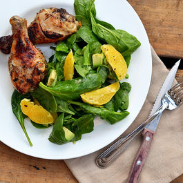 Honey_garlic_chicken_drumsticks_with_spinach__avocado_and_orange_salad