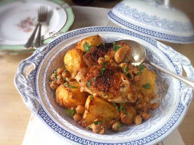 Extraordinary Marinated and Roasted Chicken, Potatoes, and Chickpeas