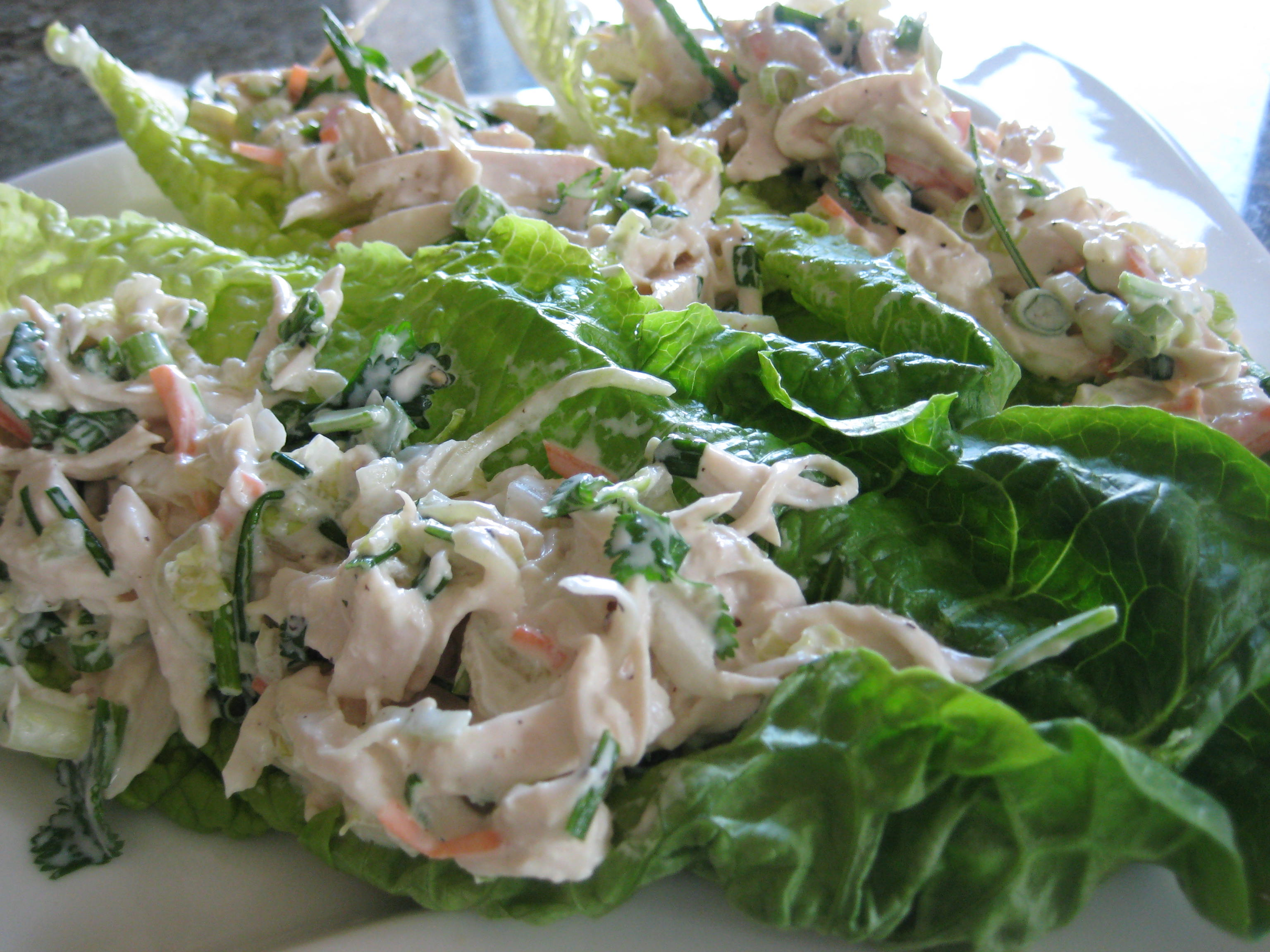 Cilantro Chicken Salad in Lettuce Cups