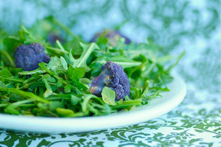 Roasted Purple Cauliflower and Arugula Salad