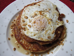 Granola-Bacon Pancakes with Fried Egg