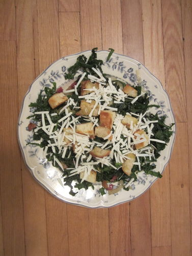 Caesar-Style Kale Salad with Roasted Onions and Ricotta Salata