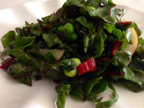 Over-the-rainbow chard salad with the prettiest pink dressing