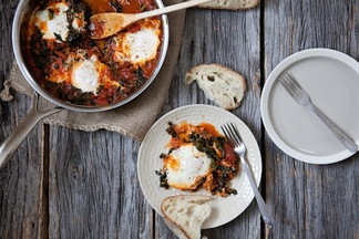 Eggs in a Wintry Tomato and Kale Sauce