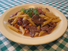 Penne with beef and garbanzo beans