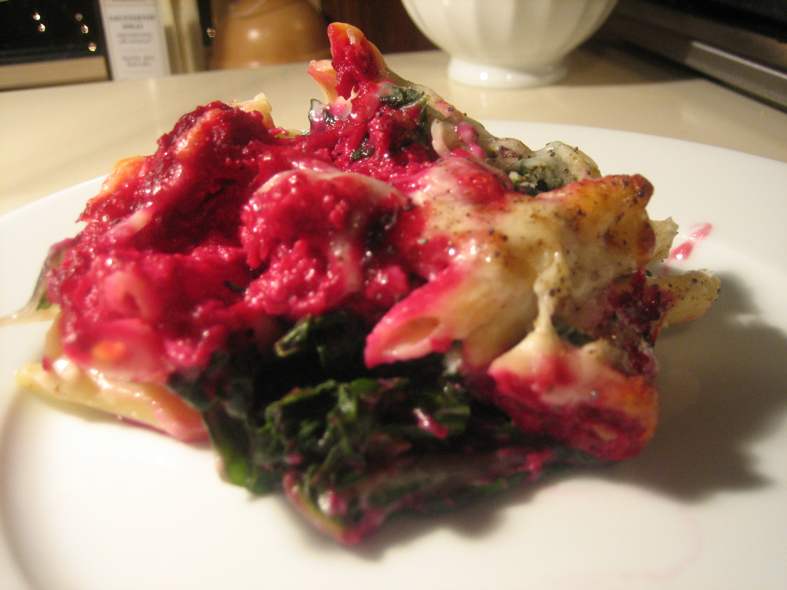 Penne with Beet Ricotta, Swiss Chard, and Walnut Bechamel