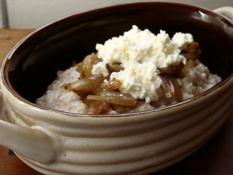Caramelized Onion, Ricotta & Steel Cut Oats