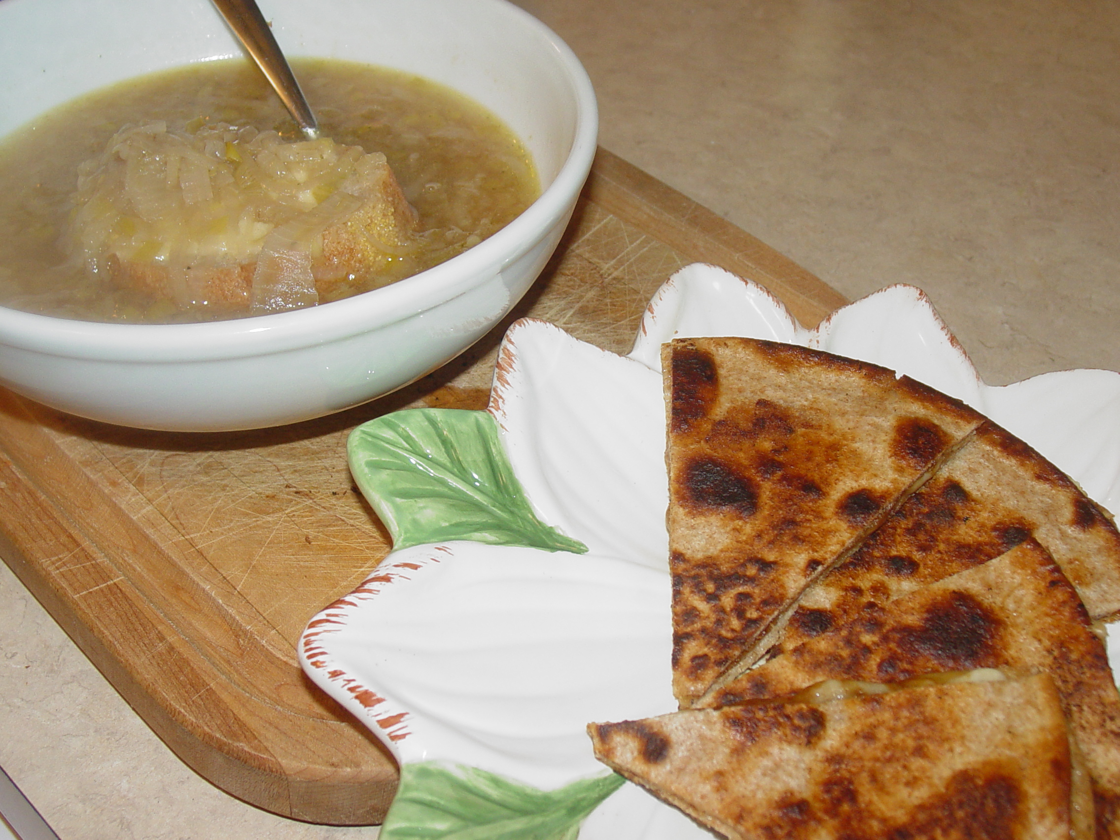 French Onion Soup with Turkish Cheese &amp; Date Syrup Quesadillas