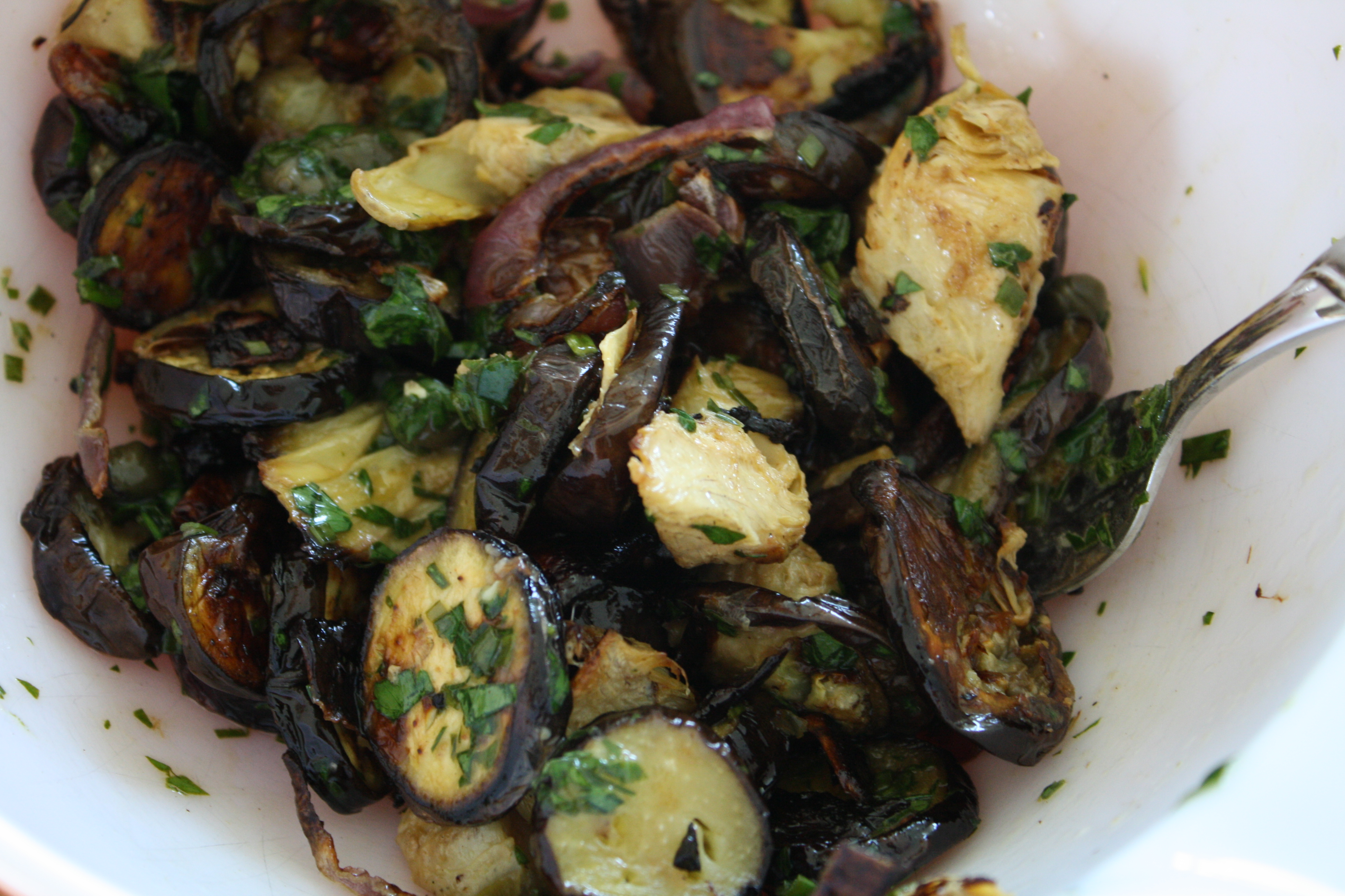 Roasted Eggplant with Artichoke Hearts and Salsa Verde Recipe on ...