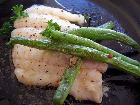 Poached sole with blood orange beurre blanc