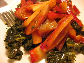 Roasted Roots and Tubers over Lemony Braised Kale