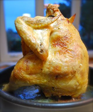 Wishbone Roast Chicken with Herb Butter