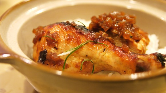 Misoyaki Roast Chicken with Shoyu Onion Sauce