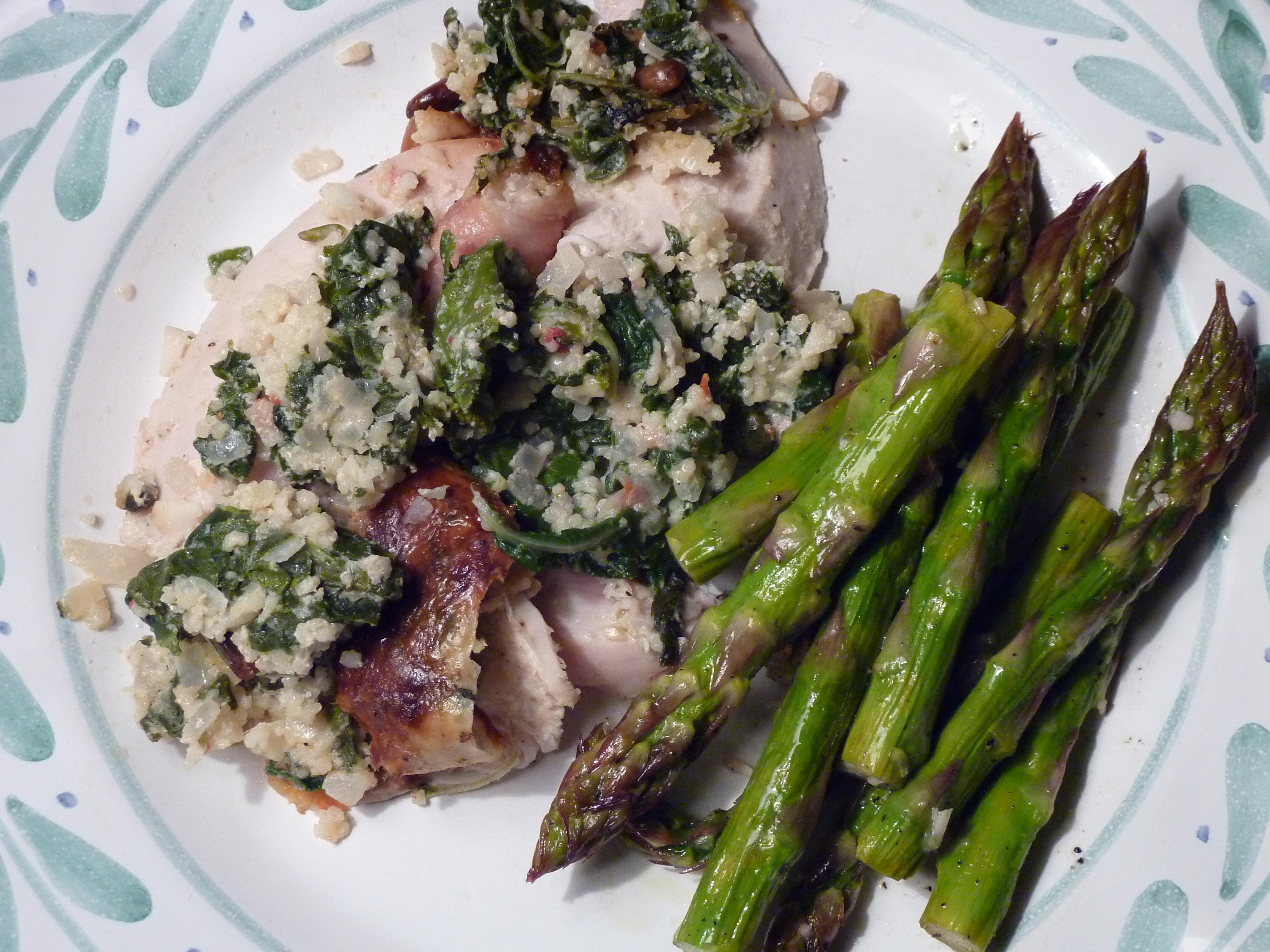 Tuscan Roasted Chicken Stuffed wtih Swiss Chard Couscous and Cheese