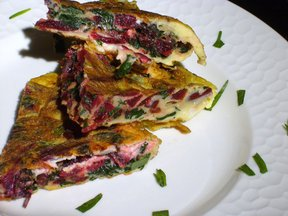 Beet Greens Frittata with Tarragon and Goat Cheese