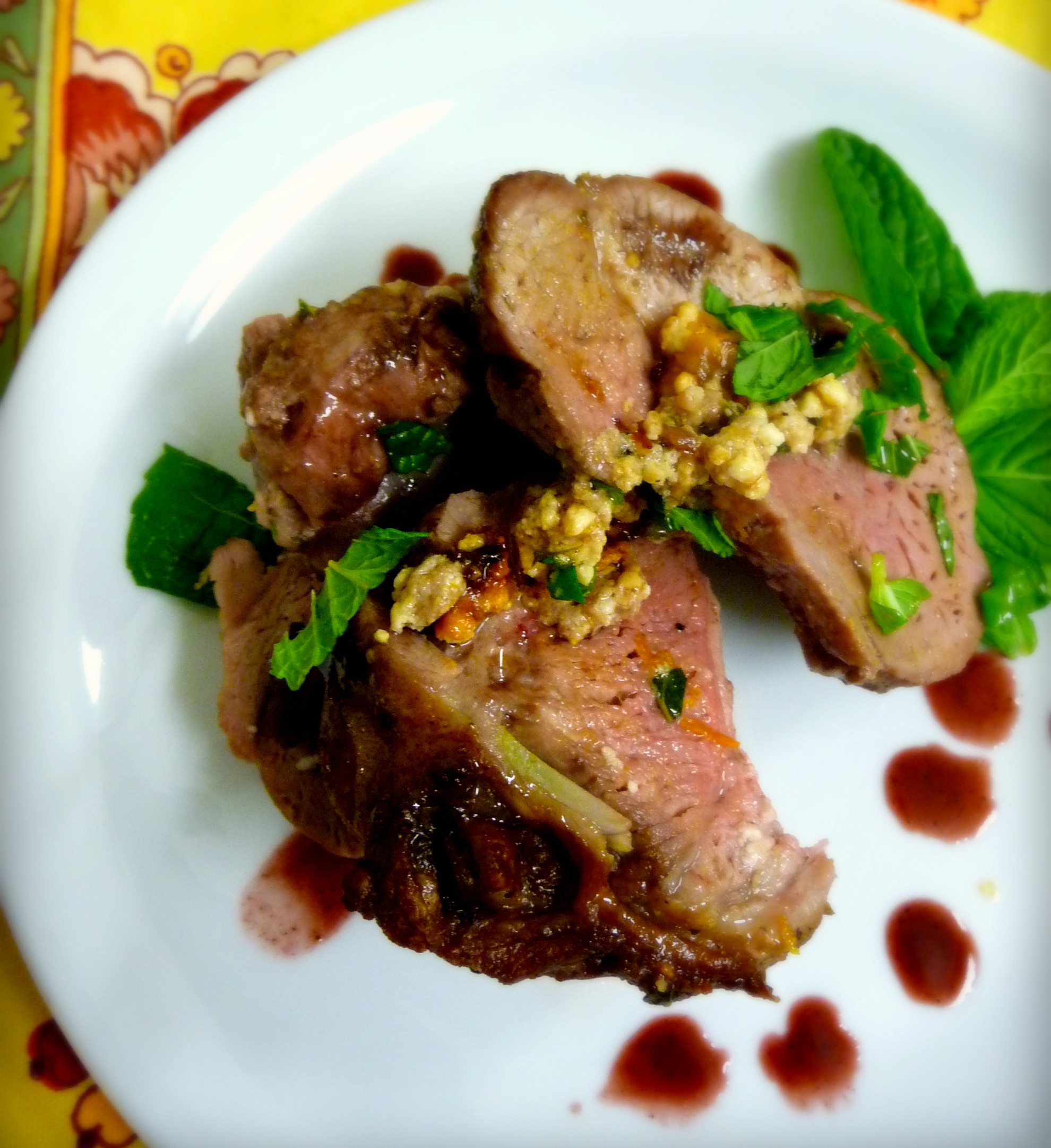 Mint and Feta Stuffed Leg of Lamb with Balsamic Blood Orange Sauce