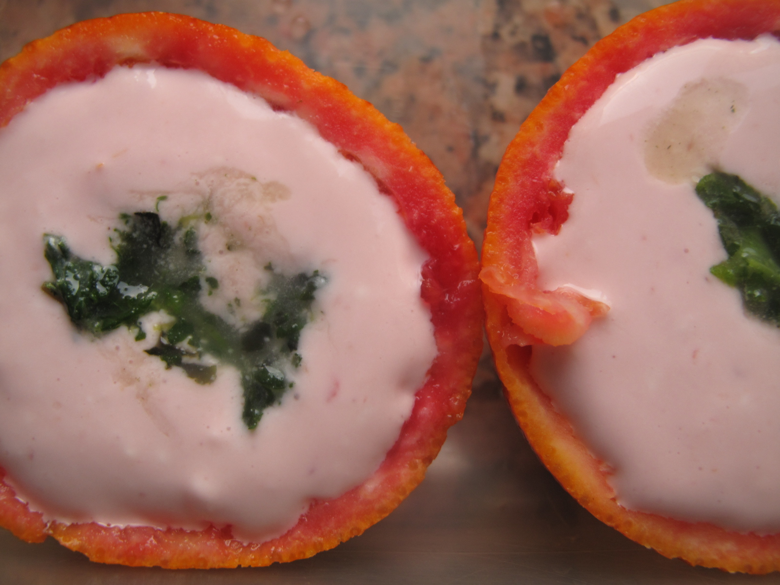 Blood orange cups with no-churn feta ice-cream and mint swirls