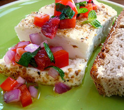 Grilled Feta with Blood Orange, Red Pepper and Mint Salsa