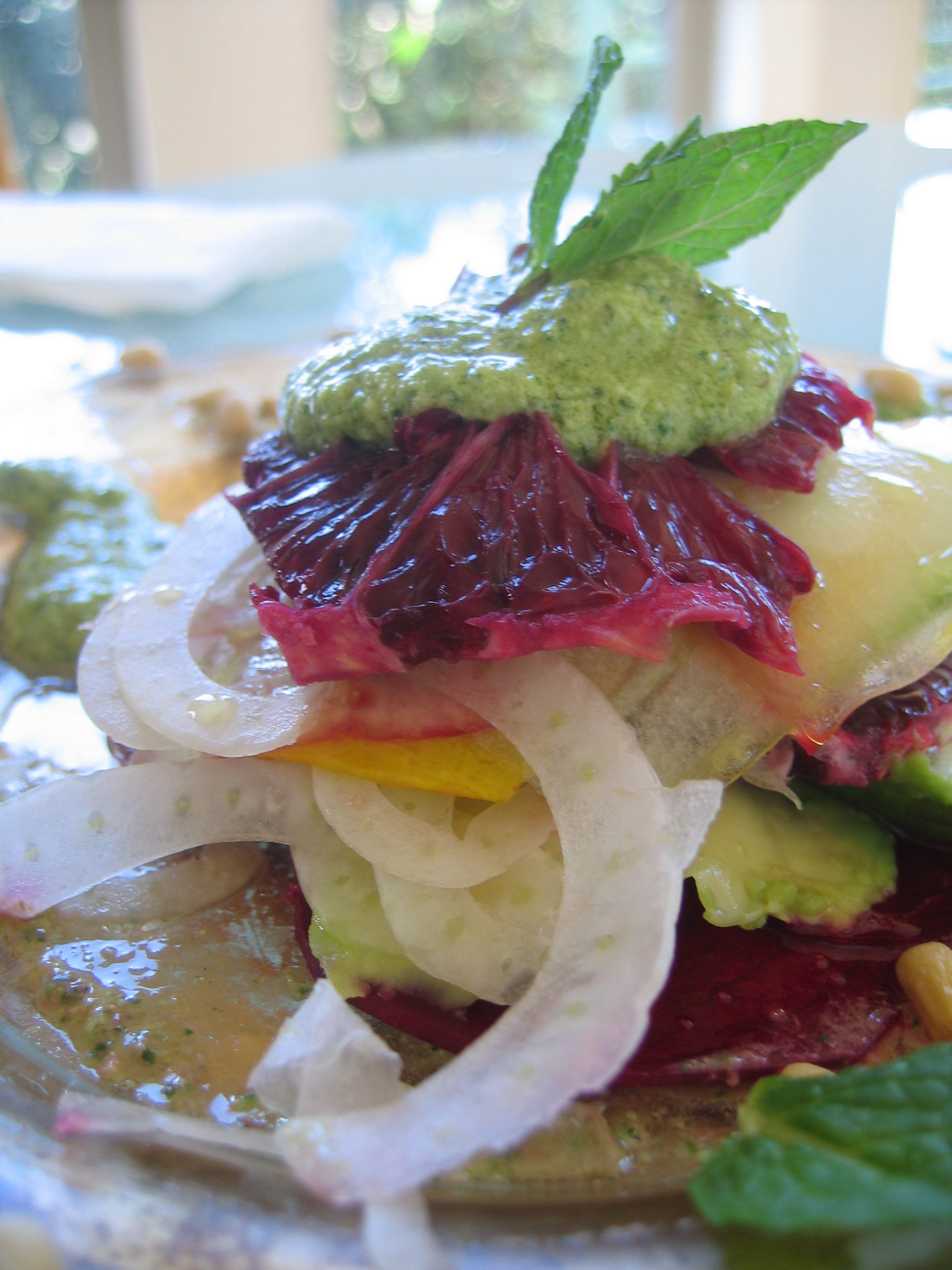 Raw Blood Orange Cucumber Composed Salad w/ Bulgarian Feta, Pine Nut & Mint Pesto