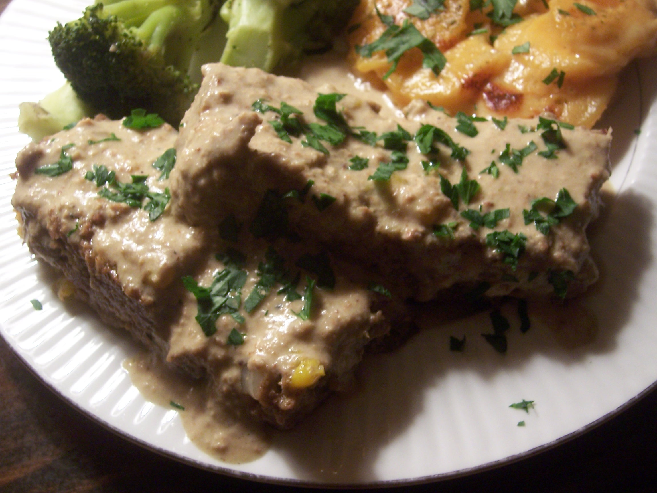 South West Meatloaf with Green Chile Herb Pepita Cream Sauce
