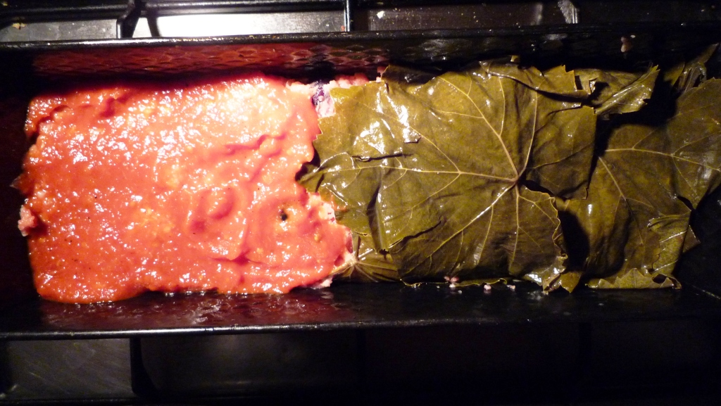 Vineleaf Wrapped Meat Loaf with homemade Ketchup