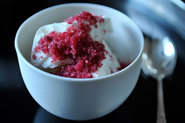 Feta Frozen Yogurt with Blood Orange and Mint Granita!