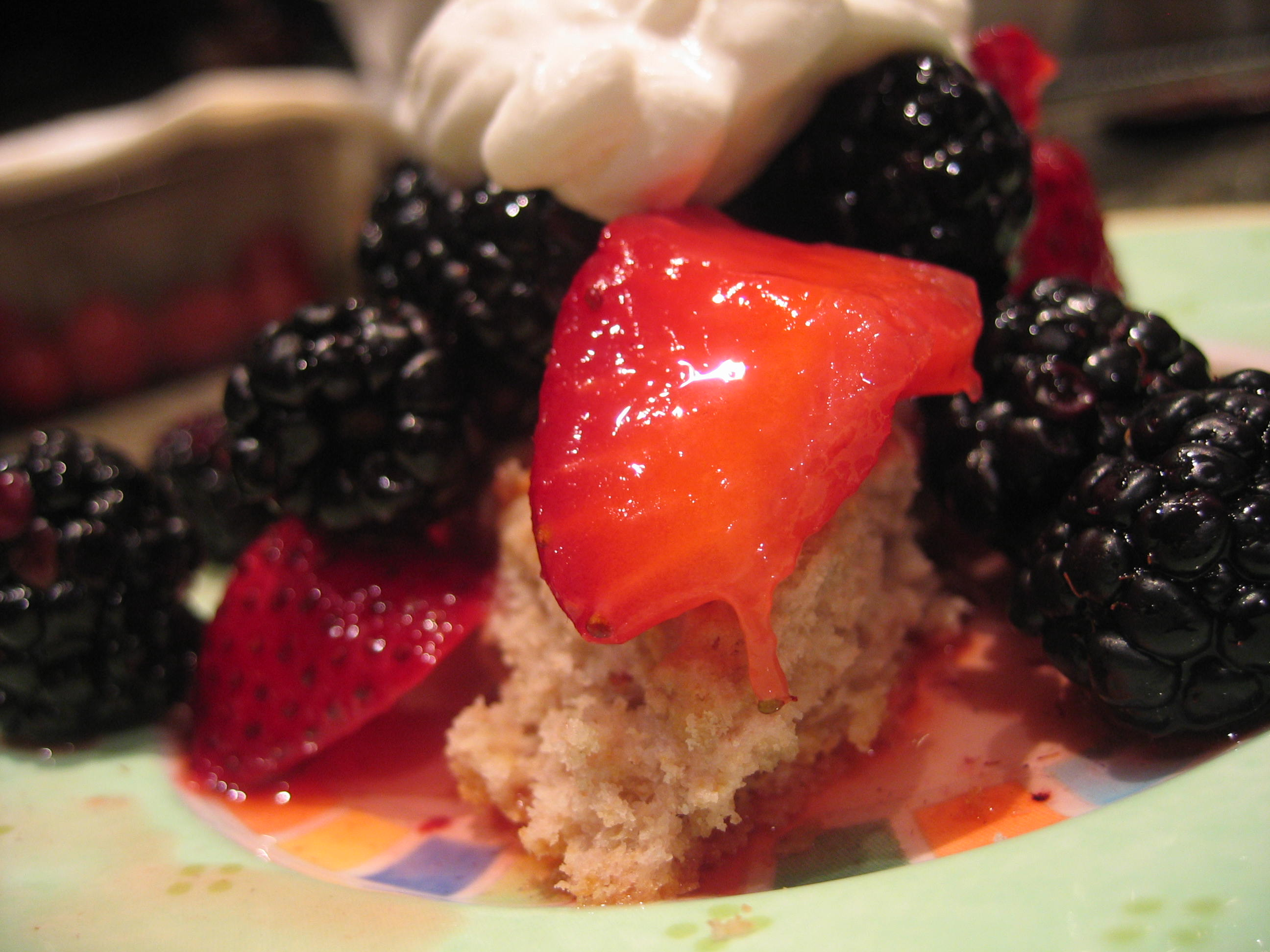 Blood Orange Scones Topped w/ Macerated Strawberries, Blackberries &amp; Hardly Sweetened Cream