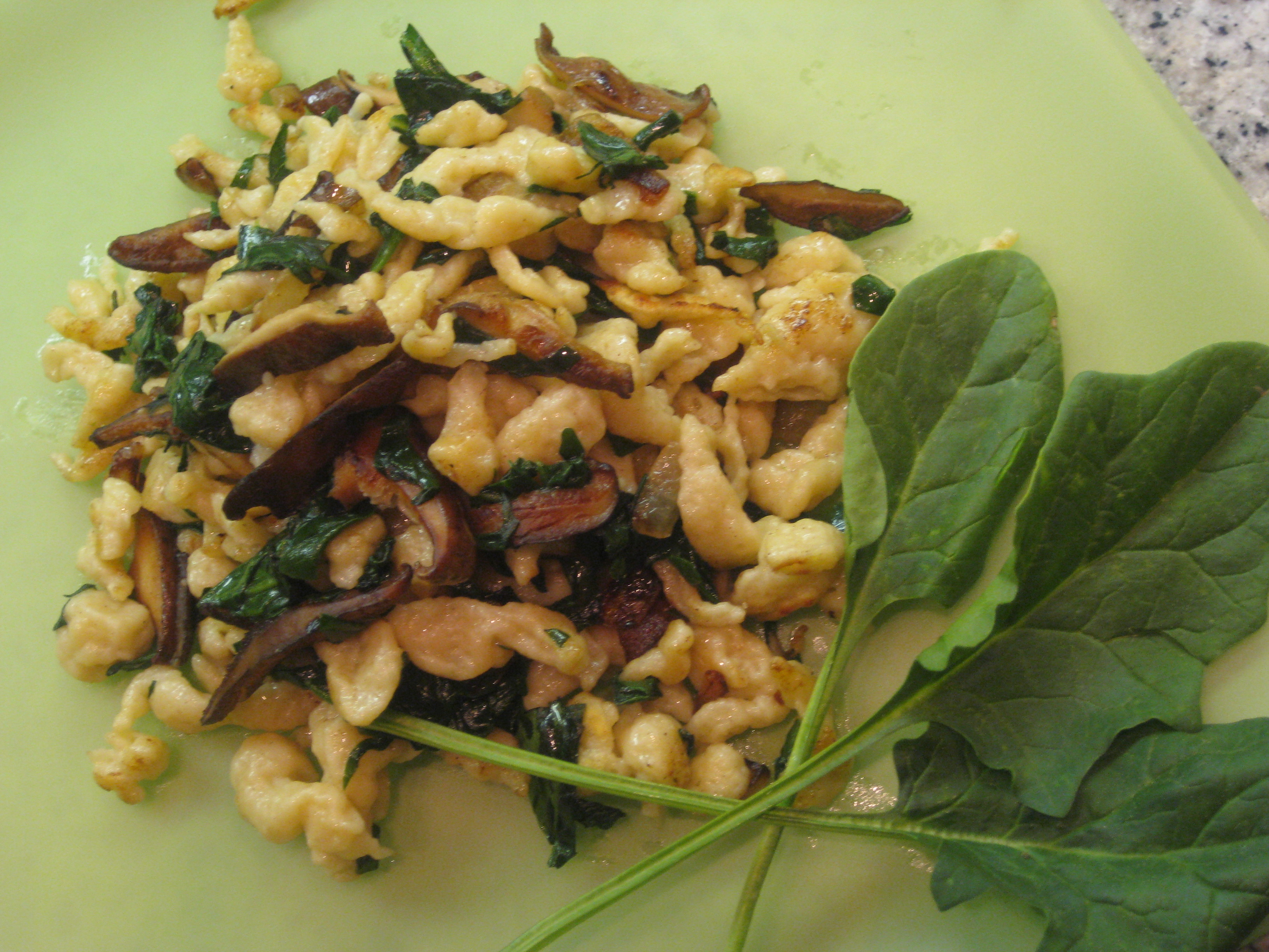 Mustard Spaetzle with Sauteed Spinach, Sweet Onions and Shitake Mushrooms