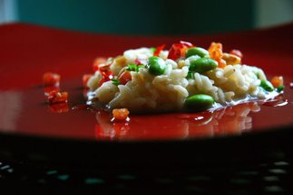 Risotto &quot;Japanese Style&quot; with Edamame, Bacon and Toasted Pine Nuts