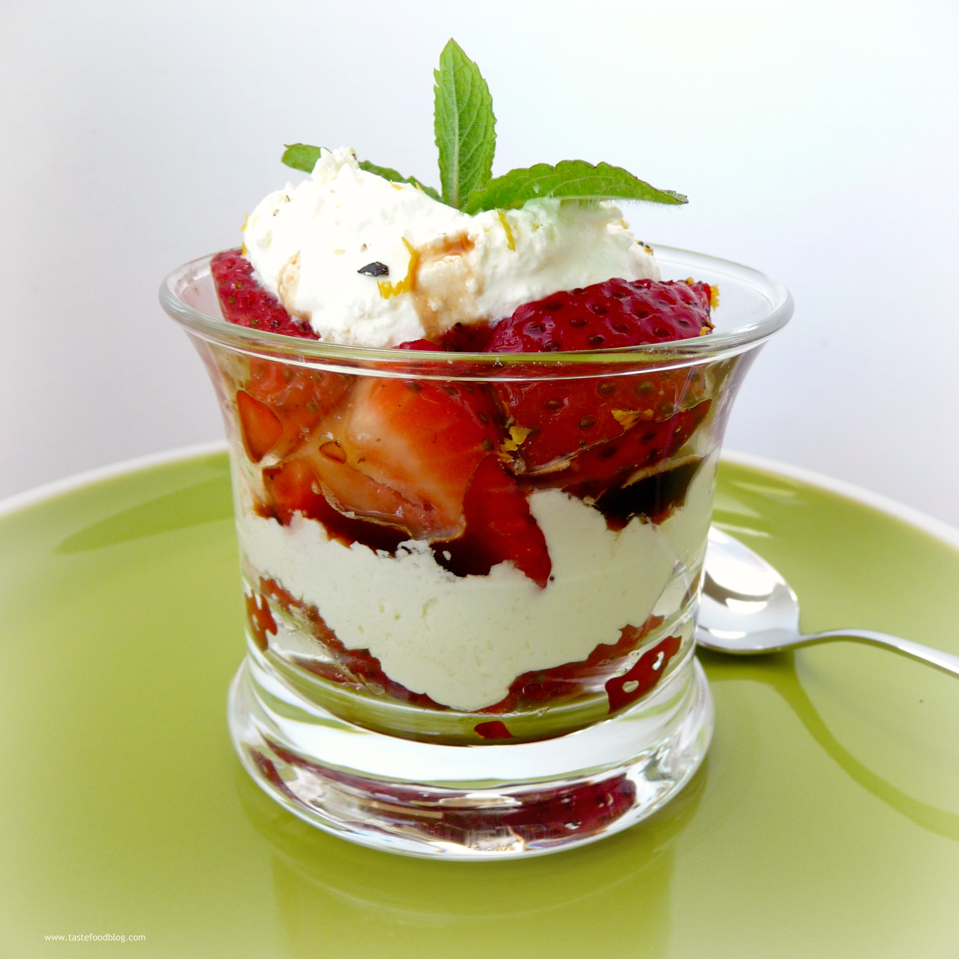 Strawberry Cream Parfaits with Black Pepper and Balsamic Syrup