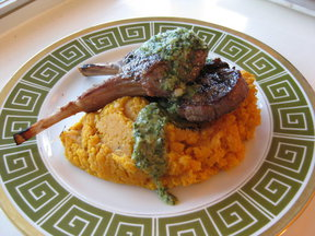 Grilled Lamb Chops with Green Garlic Chimichurri and Mashed Sweet Potatoes
