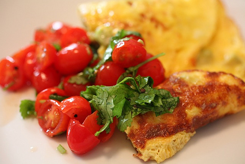 Avocado Omelet with Cherry Tomato Lime Relish